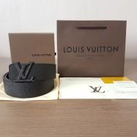 SABUK LOUIS VUITTON LV BELT TAIGA FULL BLACK MIRROR QUALITY