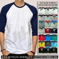Kaos Raglan Polos Lengan 3/4 Size S M L
