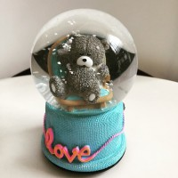 Jual Kotak Musik Snow Globe Bola Kristal Kaca Salju Lamp SK0090A Teddy Bear Murah