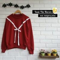 Jual JFK - Sweater Wanita Korea Basic Pita Maroon  Murah