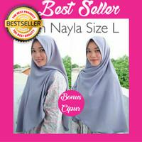 Jual Kerudung Hijab Jilbab Simple Syari Khimar Plain Nayla Shawl Size L Murah