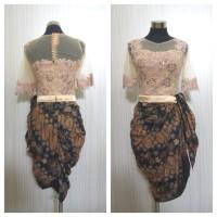 Mini Dress Batik Tile Brokat Kombinasi Katun / Minidress Batik Wanita