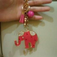Jual Key Chain Lace Bag Key Pearl Pink Elephant Gantungan Tas Kunci Murah
