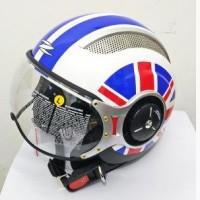 Helm Halfface Retro Import Zeus ZS-218 White/SS8 Blue