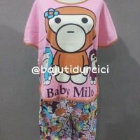 Piyama Baju Tidur Baby Doll Setelan Baby Milo Pink
