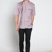 Jual Baju Koko Lengan Pendek/ Warna Ungu Muda Batik