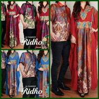 Baju Couple Batik Pesta ( Sepasang Dress kaftan Cewek + Kemeja Cowok )