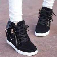 Jual Sneaker Boots wanita SKL97 Hitam sepatu murah wanita / wedges sneaker Murah