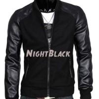 Jaket Semi Kulit Sintetis Jacket Night Black Hitam Pria Cowok Lelaki