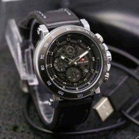 Jam Tangan Pria Swiss Army Date Chronograph Analog Black Leather