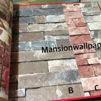Wallpaper Dinding Batu Bata Alam 3D Tipe 1