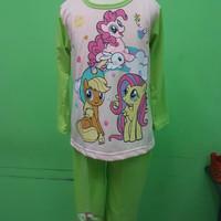 Baju Tidur/piama/piyama Kaos Anak Little Pony Green Long 14/16/18