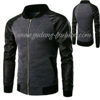 Jual jaket kulit pria sintetis kombinasi plis katun Murah
