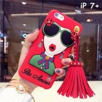 FOR IPHONE 7 PLUS - 3D SOFT FASHION GIRL GLASSES TASSEL KOREAN CASE
