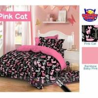 Kain Sprei Meteran Motif Kucing Centil Pink Cat Hitam
