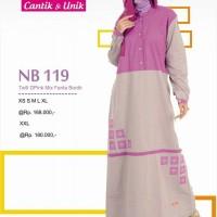 Gamis Nibras Muslimah NB 119 Pink mix Fanta