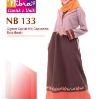 Gamis Muslimah Nibras NB 133 Cigaret Coklat mix Cappucino