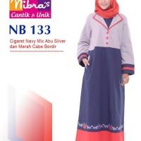 Gamis Muslimah Nibras NB 133 Cigaret Navy mix Abu