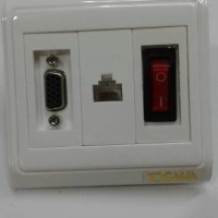 Faceplate / wallplate isi 3= gender vga + Cat5 + Saklar On off