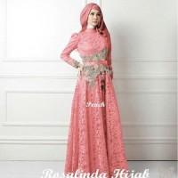 Maxi bordir tali hijab brokat furing spandek rosalinda (peach tua) M