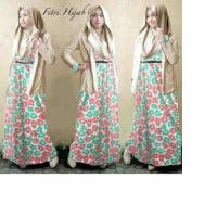 Maxi cardigan rok hijab spandek hyget fitri melati outs (cream) M