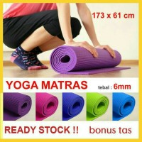 Jual MATRAS YOGA , GYM 6 mm + BAG / karpet matras yoga, gym ,fitness Murah