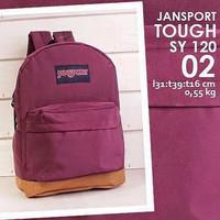 Tas Sekolah/ Merk Jansport Warna Polos Maroon/ Kualitas Bagus