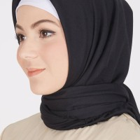 Premium Cotton Rawis Square Black LAFF HIJAB