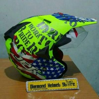 Helm cross supermoto JPR Cross Born To Ride Yellow Fluo doff