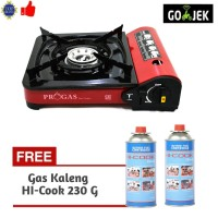 Paket Progas Kompor Portable / Camping + 2 Gas Kaleng HI-COOK 230 G