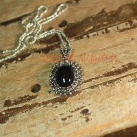Jual Black vintage model fashion pendant kalung hitam elegan klasik silver Murah