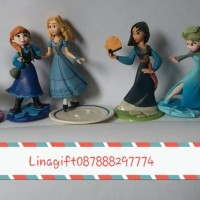 Figurine princess frozen mulan elsa anna jasmine isi 6pc set