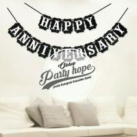 Bunting Flag Happy Anniversary Hitam / Banner Happy Anniversary Hitam