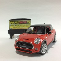 NEW MINI HATCH (MERAH) - SKALA 1:24 - WELLY (DIECAST-MINIATUR)