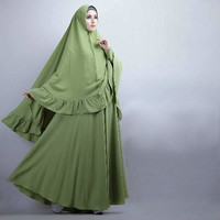 E0 [Syari Soraya Alpukat Cl] baju muslim wanita jersey hijau