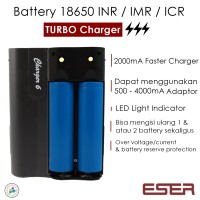 Jual Eser Fast Charger Turbo Batere 18650 Baterai Battery INR IMR ICR -CHG6 Murah