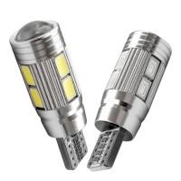 Jual Lampu LED T10 W5W 5630 / 5730 10 Mata + Lensa Canbus 12V Murah