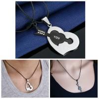 Couple Puzzle Black Arrow Heart Necklace