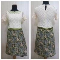 Jual Dress Pesta Brokat Batik Hijau / Baju Batik  Wanita Gaun Pesta Katun Murah
