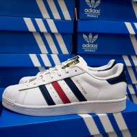 ADIDAS SUPERSTAR FOUNDATION PACK LEATHER WHITE STRIP NAVY RED ORIGINAL
