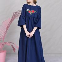 Jual blue embroidery dress Murah