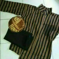 Jual Paket Satu Set Baju Surjan Lurik + Blangkon + Celana / Baju Adat Jawa Murah