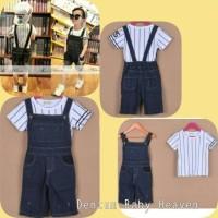 Baju Anak Branded Import Fashion Setelan Overall Jeans Set Tee Stripe