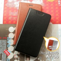 Lenovo A7700 Plus Leather Flip Case Casing Cover Sarung Dompet Kulit