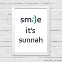 Jual Poster Quote Islami - Smile, It's Sunnah - Hiasan Dinding Murah