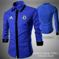 Kemeja pria logo club bola chelsea logo addidas blue casual