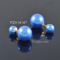 Anting bulat mutiara biru PZA14147