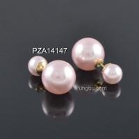 Anting emas bulat mutiara pink muda PZA14147
