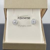 Anting putih bulat zirconia PZA14150