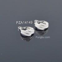 Anting putih tiga deret ulir permata PZA14149
